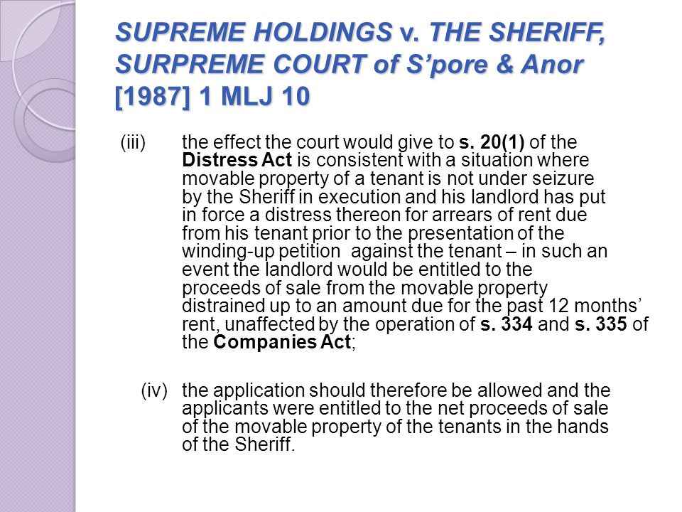 SUPREME HOLDINGS v. THE SHERIFF, SURPREME COURT of S'pore & Anor [1987] 1 MLJ 10